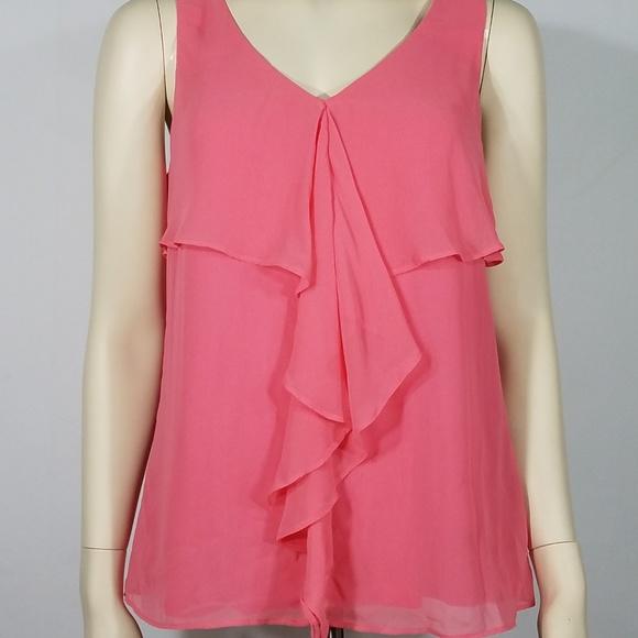 9095af8d3d42e6 NWT pink ruffled sleeveless blouse ladies Medium. NWT. Cupio